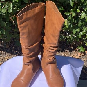 Caramel faux leather boots